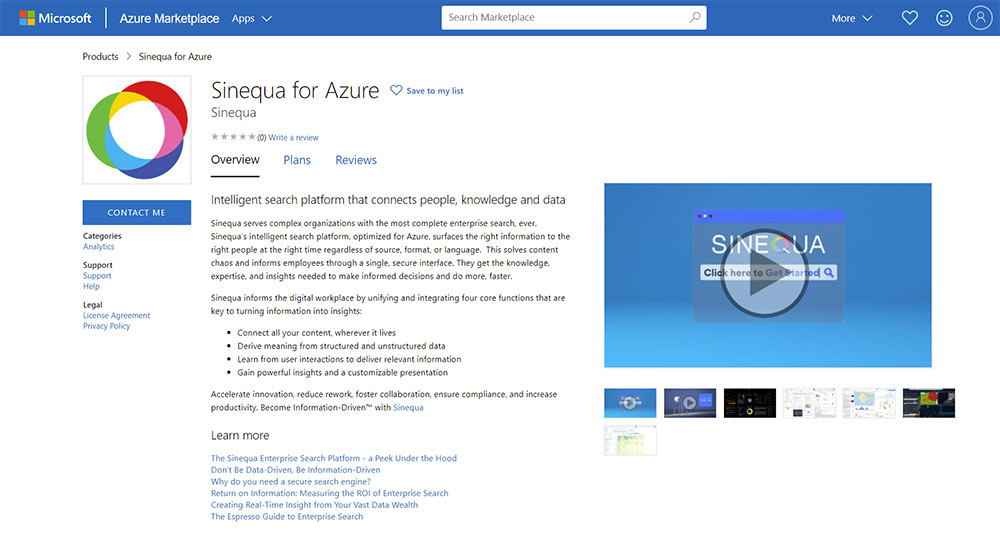 Architecture - Sinequa for Azure